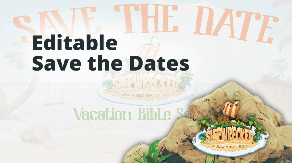 Shipwrecked VBS Editable Save the Date